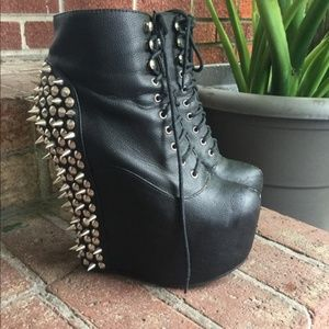 Jeffrey Campbell Damsel spiked wedge heel leather